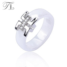 TL 2017 Cheap Women Finger Ceramic Rings Engagement Wedding Rings For Women Cubic Zirconia Silver Female Rings Ceramic Jewelry