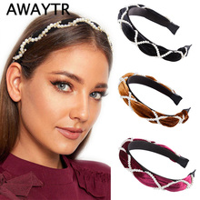 AWAYTR Fashion Pearl Braid Bezel Velvet Headband For Women Simple Sweet Korea Cute Hairband Female Hair Loop Hair Accessories цена