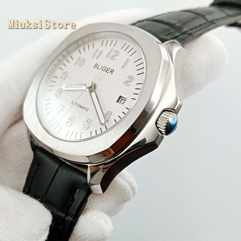 Saatler'ten Mekanik Saatler'de Yeni moda saatler 40mm Safir cam derin mavi Arama Tarihi Otomatik Mens savurgan Izle BLIGER 2902'da  Grup 1