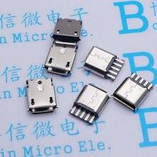Eclyxun 10 pçs/lote micro usb 5pin fêmea soquete conector tipo de soldagem para a cauda carregamento do telefone móvel