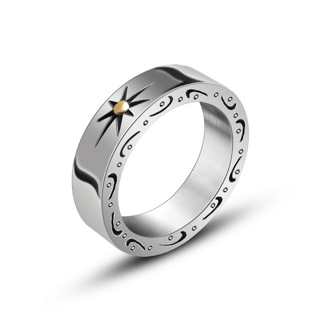 Hot Sell Japanese Style Stainless Steel Ring Vintage Mens Jewelry