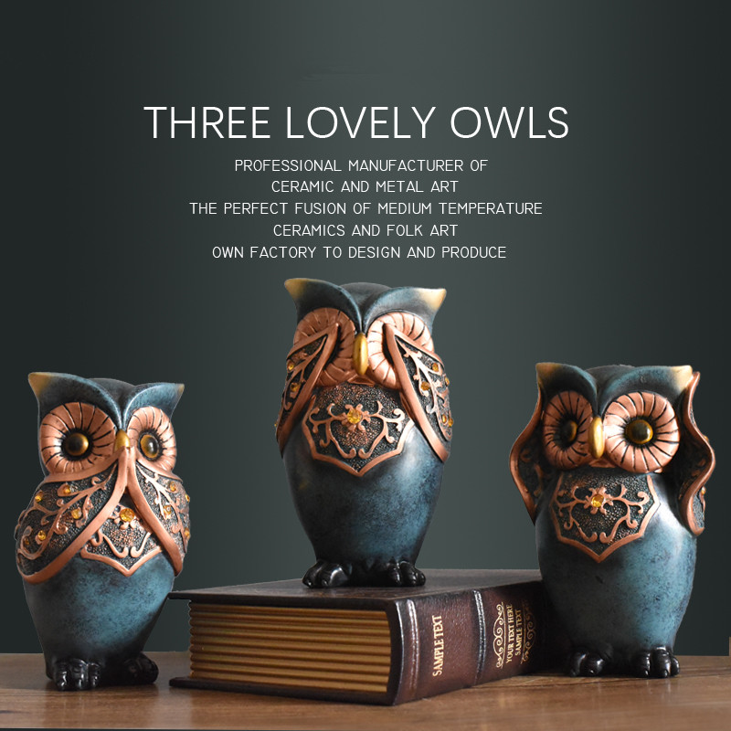 3 pcs lot retro creative owl figurine home decors handmade animal sculpture home furnishing