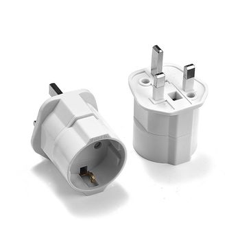 100pcs EU To UK Plug Adapter Standard Euro Schuko 2 Round Plug To UK 3 Pin Travel Power Adapter Converter Electric Socket Outlet