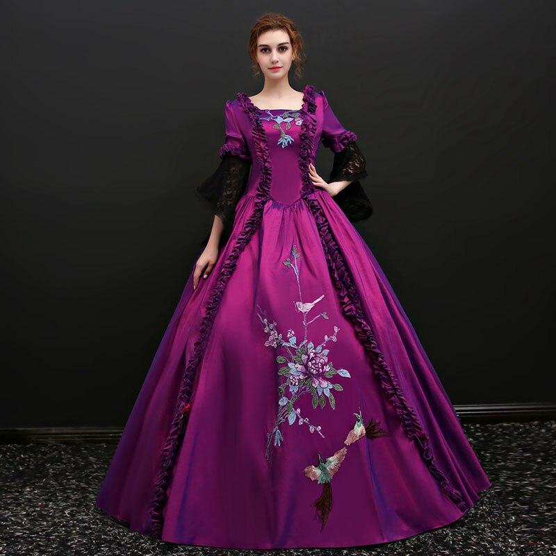 2018 violet imprimé danse princesse robes col carré à manches longues évasées fleurs broderie dentelle robe de soirée pour les femmes