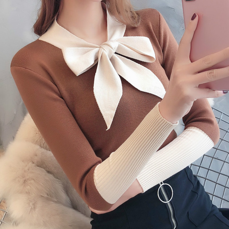 Bow Tie Neck Sweater Women Fashion 2019 Autumn Spring Black Tops Women Knitted Pullovers Long Sleeve Jumper Pull Femme Clothing