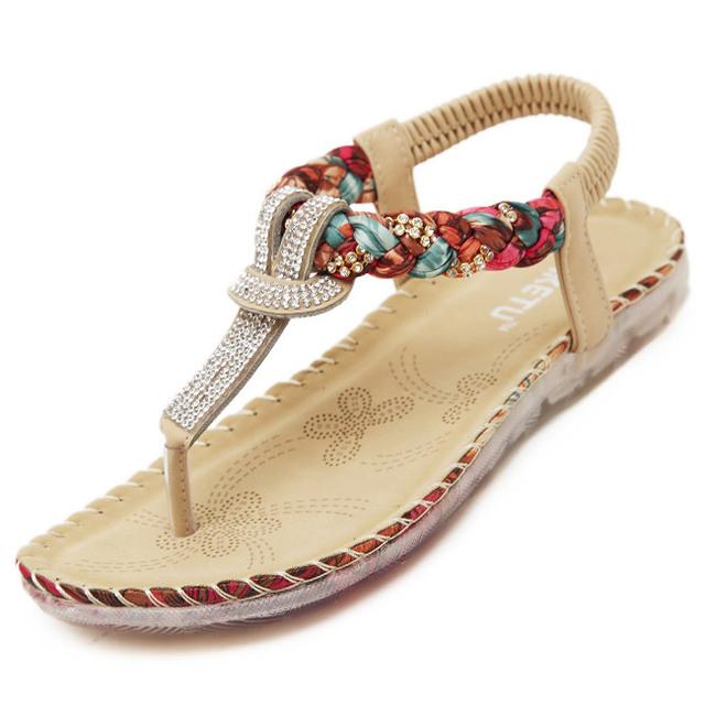 2016 Plus Size 35 - 41 mulher verão sandálias sapatos com strass Exquisite diamante Bohemian Flats moda Casual mulheres virar sapatos