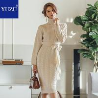 Vintage Apricot Sweater Bodycon Dresses For Woman 2018 Winter Thick Turtleneck Pencil Long Sleeve Knee length Warm Dresses