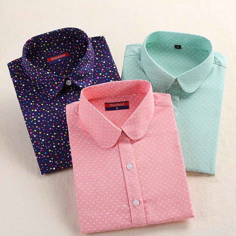 Dioufond Polka Dot Frauen Shirt Langarm Blusen Baumwolle Herbst Damen Tops Umlegekragen Plus Größe Vintage Blusen