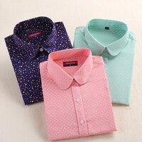 Dioufond Polka Dot Women Shirt Long Sleeve Blouses Cotton Autumn Ladies Tops Turn Down Collar Plus Size Vintage Blouses