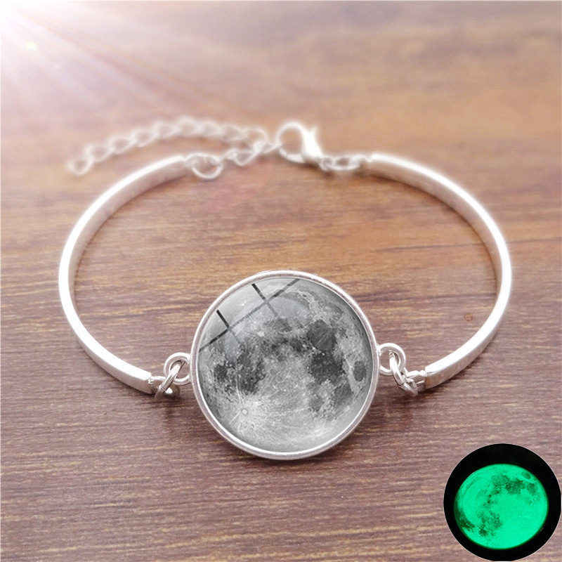 Glowing Moon Bracelet With Silver Color Gl Cabcohon Galaxy Glow In The Dark Charm Bangle For Men Women Gift