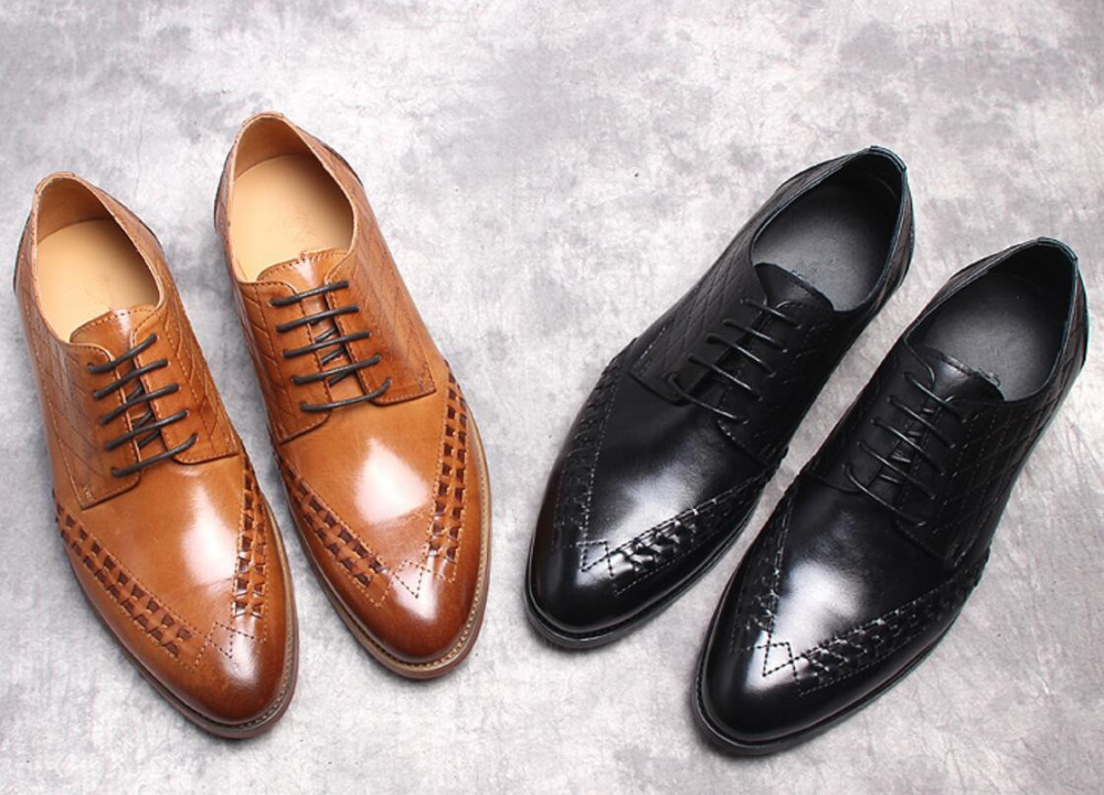 Genuine Leather Mens Fashion Oxfords Shoes 2018 Spring Autumn Male Wedding Tuxedo Oxfords Shoes Slip on Runway Shoes ch kwok crocodile leather mens dress wedding oxfords slip on male business suits tuxedo oxfords spring autumn man derby shoes