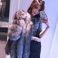 Всего Натуральной Кожи Подлинная натуральный Мех Пальто для Женщин Люкс Silver Fox Шуба Полный Пелт Жилеты Верхняя Одежда Плюс Размер C15