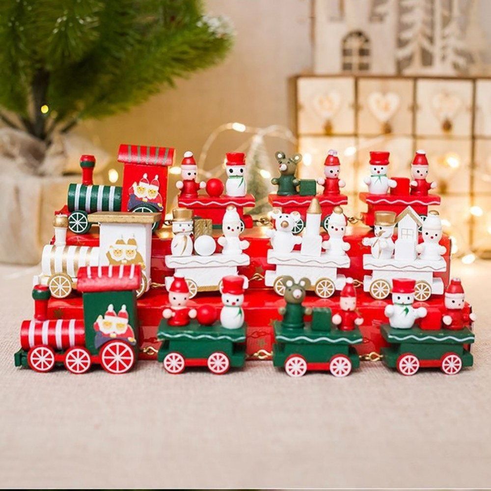 Christmas Decoration For Home Little Train Popular Wooden Train Decor Christmas Valentine's Day Gift New Year Supplies image