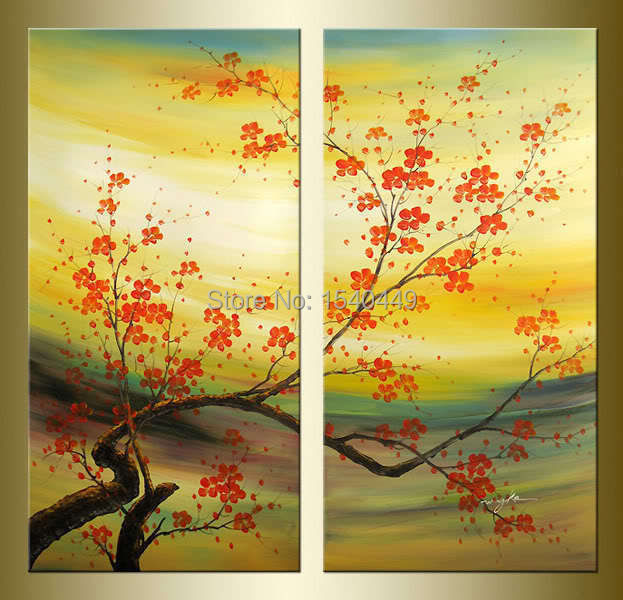 2 Piece Set Modern Abstract Chinese plum blossom red Flower ...
