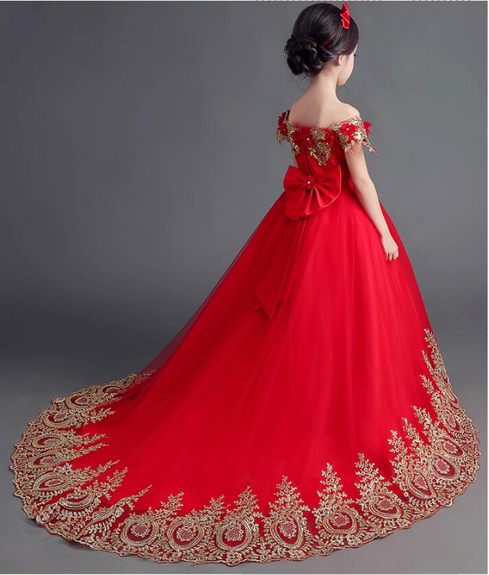 81f86d9dd1 2017 Beautiful Ball Gown Red Flower Girl Dress with Gold Appliques Off the  Shoulder Flowers Sequins Bow Long Tulle Pageant Dress-in Flower Girl Dresses  from ...