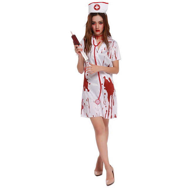 Free Shipping Halloween Costumes For Women Blood Nurse Costumes Horrible  Nurse Cosplay 08d8cac185