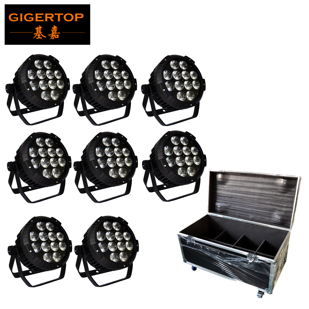 8IN1 Flight Case Pack DMX Stage Light 18W x 12 RGBW UV 6IN1 LED Par Cans Light Outdoor IP65 LED Par 64 Light Fast Shipping free shipping 16 lot dmx 18x10w rgbw led par can light for stage decoration