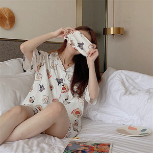 Image 3 - Caiyier 2019 Summer Cotton Pajama Sets Bread Superman Print Short Sleeve Ladies Sexy Sleepwear With Eye Mask Casual Nightwear