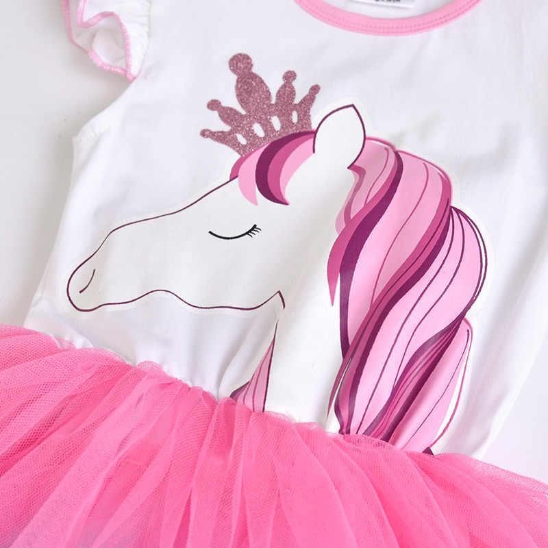 Vikita meninas unicórnio tutu vestido crianças lantejoulas princesa vestido de festa de aniversário meninas crianças verão trajes unicórnio
