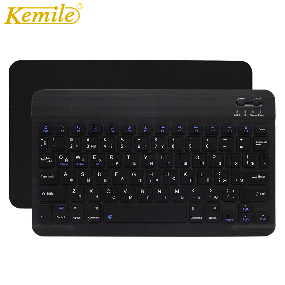 Ultra Slim Aluminum Wireless Bluetooth Russian Keyboard For IOS Android Tablet PC Windows For iPad Bluetooth Russian Keyboard-in Keyboards from Computer & Office
