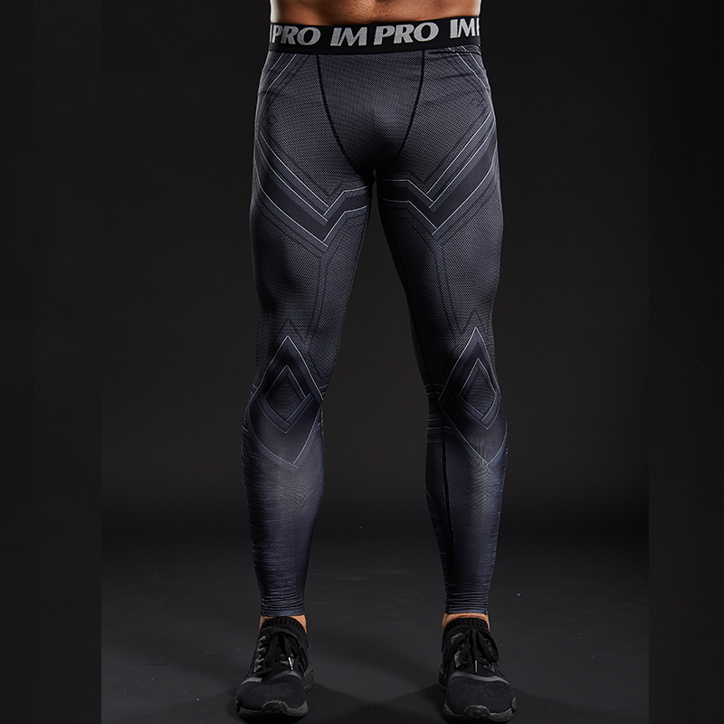 Trousers Male Pants Leggings Compression-Tights Comics Printed Skinny Fitness Black Brand-New