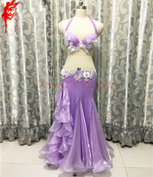 Women Performance clothes luxury flowers bra top and purple long skirt 2pcs girls belly dance set B/C cup dance clothing S/M/L