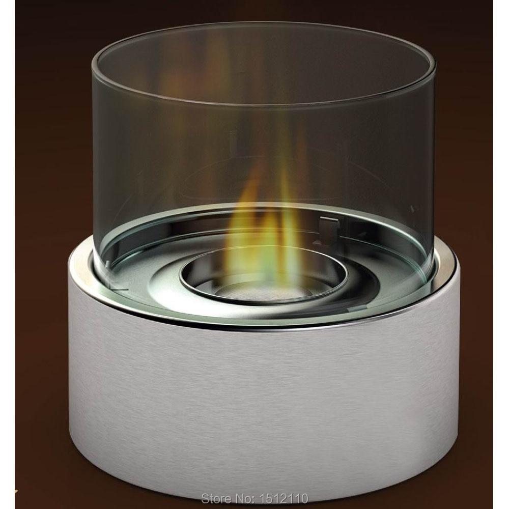 Metal Glass Crafts Bio Ethanol Talbe Top Fireplace Home Decoration Round Tube Design KW2302