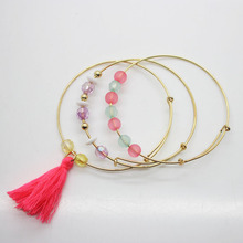 3PCS/set gold plated bracelet kid's tassel wristband girl's fashion beads bangle fancy accessories