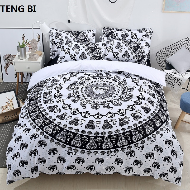 The new home textiles bedding digital printing bedding sets 3 pieces Duvet cover Pillowcase Twin Queen