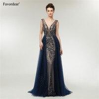 Favordear Sexy Глубокий V шеи Темно синие блестящие линии спинки вечерние платья вечерние Платья для вечеринок Лидер продаж