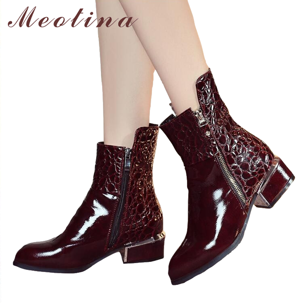 Meotina Women Shoes Winter Thick Heels Boots Ankle Boots 2018 Autumn Zipper Pointed Toe Short Shoes