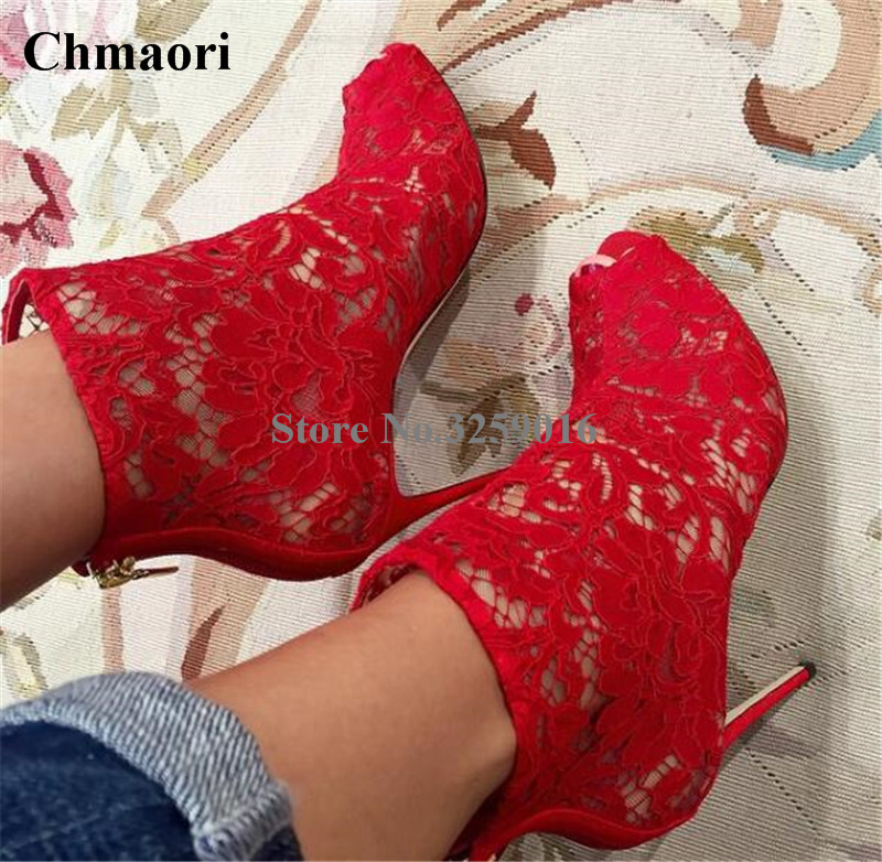 Women Elegant Red Mesh Embroidered Open Toe Short Boots Super Thin Heel Lace Ankle Booties Zipper-up Boots Dress Shoes sorbern sexy red ankle boots for women open toe lace up front super high heels 2018 women ankle booties cowgirl girls shoes
