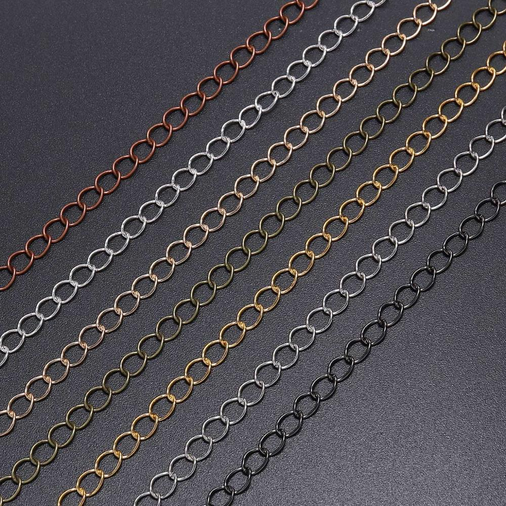 <font><b>5</b></font> m/lot 2.<font><b>5</b></font> 2.8 3.6 4.8 mm Extended Extension Necklace Chains Tail Extender Chain For <font><b>DIY</b></font> Jewelry Making Findings Accessories image
