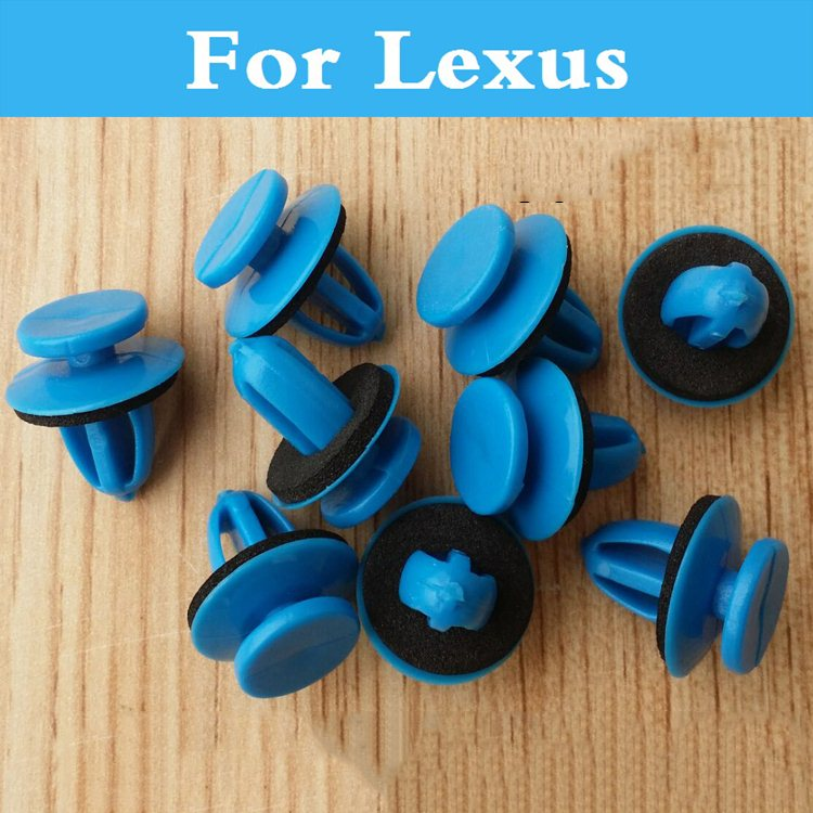 100 pcs Style de Voiture Bumper Fender Plastique Rivers Bleu Attaches Pour Lexus Gx Hs Est Gs Gs F Est F Lfa Ls Lx Nx Rc Rc F Rx Sc Ct Es