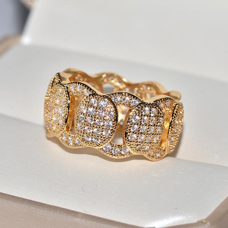 Мужские и женские золотые кольца в стиле хип хоп с крупными