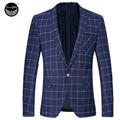 Blazer Men 2017 Men'S Fashion Brand Plaid Pocket Decoration Suit Casual Slim Blouson Male Single-Breasted Single Button 3XL EUU