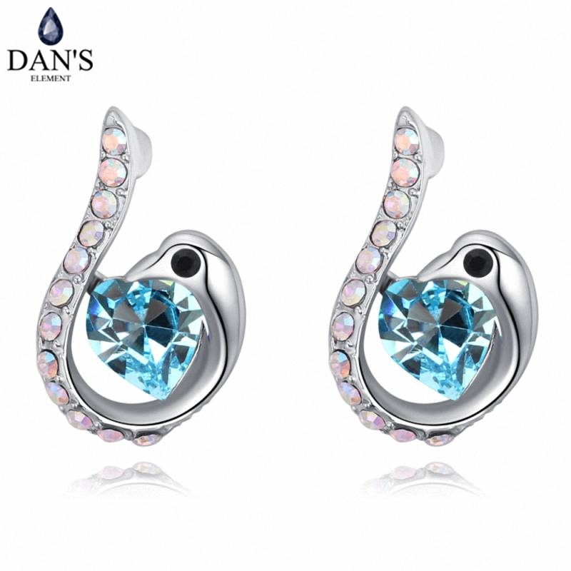 DANS 5 Colors Real Austrian crystals Stud earrings for women Earrings s New Sale Hot Round 129567