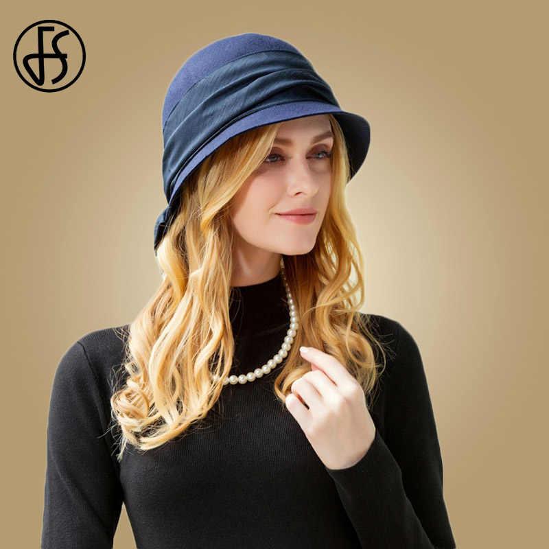 d4a30eb5923 FS British Navy Blue Wool Fedora Hats Elegant Ladies Winter Autumn Hat Women  With Bow Cloche