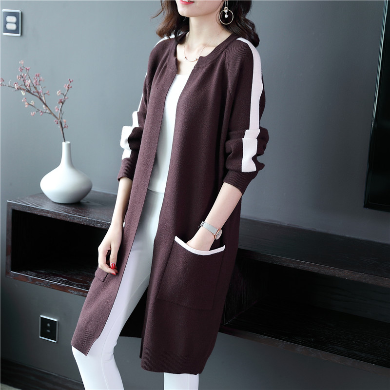 Open sweater Women s Knitted Sweater New Autumn 2018 Korean Version Of Medium length Jacket With