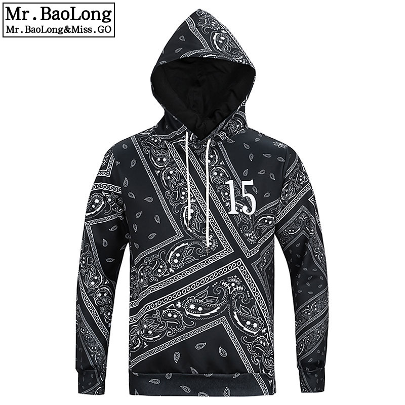 Printed Hoodies Pullover Bandana Paisley Black Sweatshirts Autumn New-Fashion with Hip-Hop-Coat