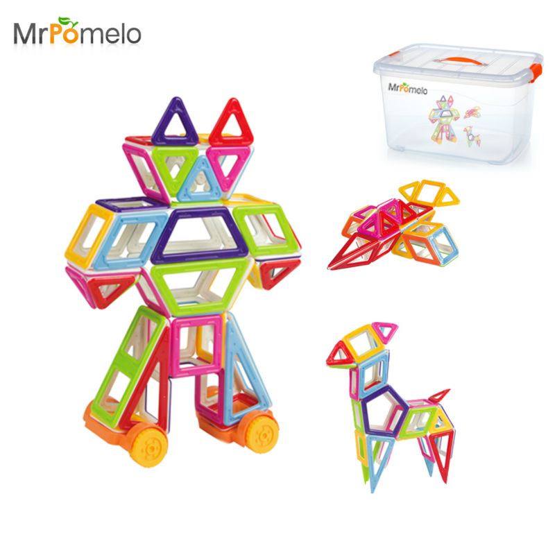 MrPomelo 102 Pieces Magnetic Building Set Educational Play Kit in Plastic