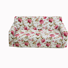 Red flowers printed elastic universal full sofa cover double single three four seater sofa protector polyester/spandex stretch