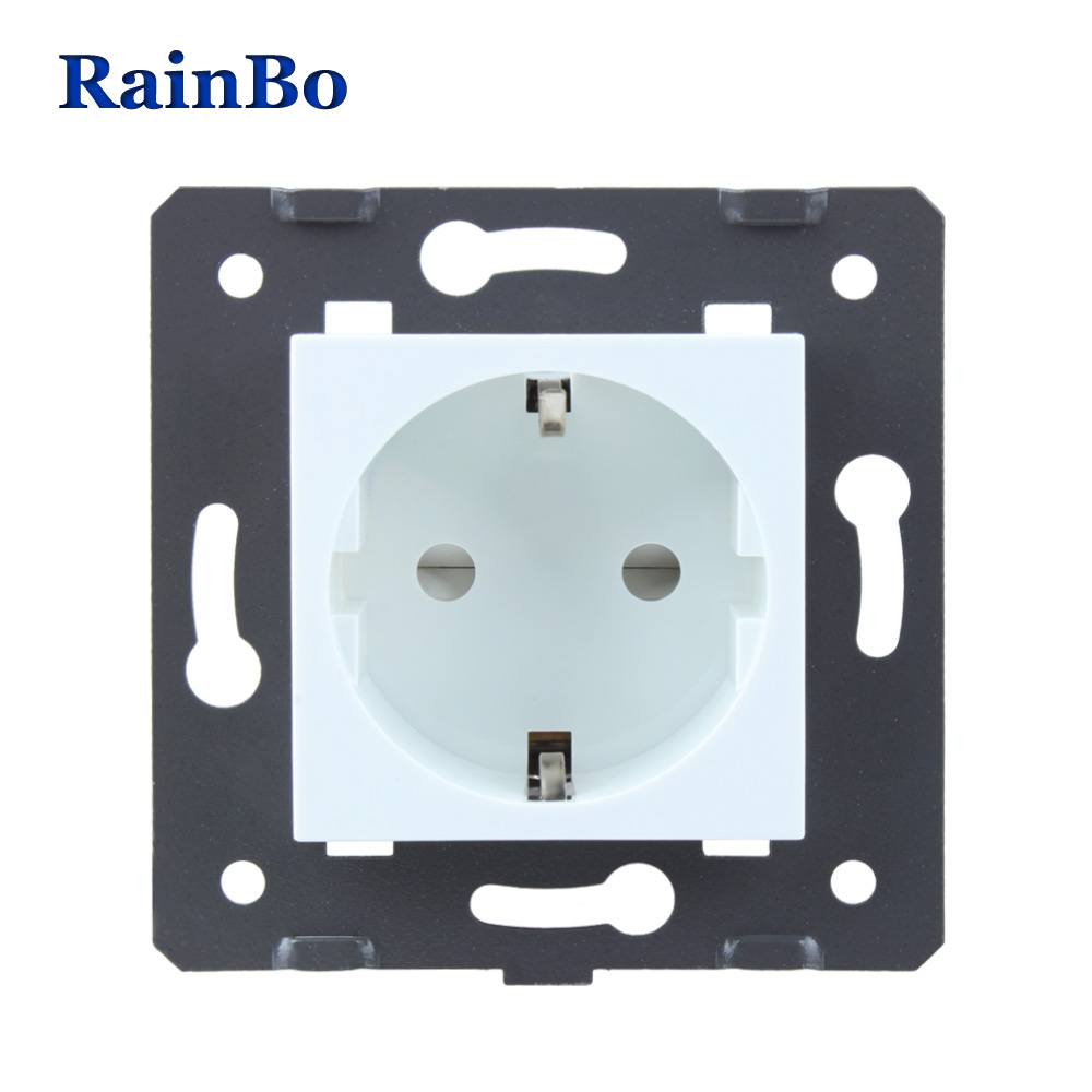 RainBo Brand EU Wall power Socket DIY EU Standard Power Socket without Glass Panel socket function parts AC 110~250V 16A A8EW/B ac 200v 250v 16a ip44 2p e 3 terminal female industrial caravan panel socket