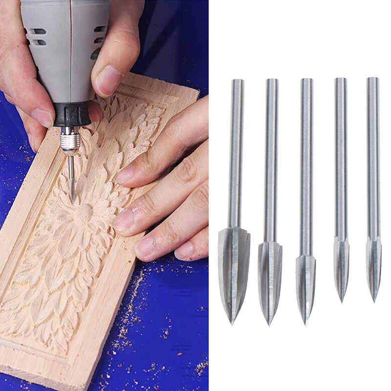 3mm Shank 3-8mm Milling Cutters White Steel Sharp Edges Woodworking Tools Three Blades Wood Carving Knives