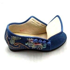 Image 3 - Veowalk ukryte kliny damskie haftowane płócienne trampki, niskie góry Denim bawełniane komfortowe buty do podróży dla pań hafty pnącza