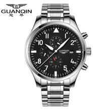 Часы мужчин 2015 люксовый бренд GUANQIN армия часы полный стали спортивные часы военные черный автоматические механические часы движение