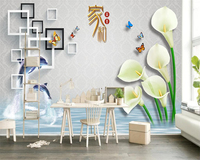 Beibehang Custom Wallpaper Living Room Bedroom Mural Dolphins Square Reflection Patterns Horseshoe Lips Relief Mural wallpaper