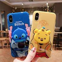 Pour iPhone XS max XR X étui à point, couverture arrière souple toy story pour iPhone 8plus 8 7P 6 6S 6P étui à ours + coussin gonflable