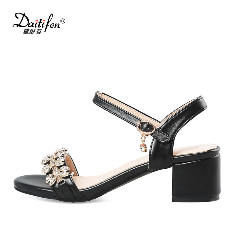 9f1a07d15 Party Size 31 Peep 52 Shoes Summer Heels Ankle Wedding Crystal Evening  Women s Strappy Toe Daitifen ...