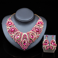 Africa Beads Jewelry Set Fashion Nigerian Wedding Jewelry Sets For Brides Gold Plated Necklace And Drop